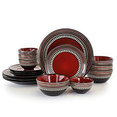 Gibson Elite Café Versailles 16-piece Double Bowl Dinnerware Set - Red