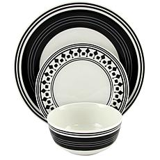 Gibson Home Black and White 12-piece Ceramic Dinnerware Set