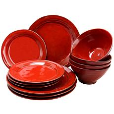 Gibson Home Elite Earth Heart 12-piece Dinnerware Set in Red