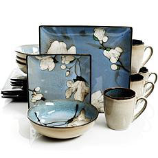 Gibson Home Fields in Bloom 16-piece Dinnerware Set in Blue