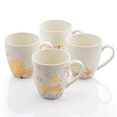 Gibson Home Holiday Gold 4pc 20 oz. Fine Ceramic Assorted Cup Set