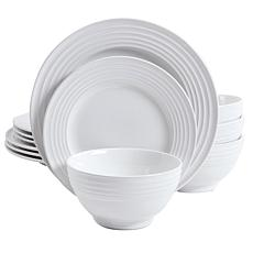 Gibson Home Plaza Café 12-piece Dinnerware Set in White