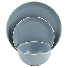 Gibson Home Rockaway 12 Piece  Dinnerware in Matte Blue Set
