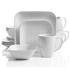 Gibson Home Square Dance 16 Piece Dinnerware Set, White