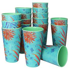 Gibson Home Tropical Rains 16-piece 20 oz. Melamine Tumbler Set