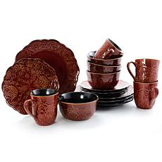 Gibson Portina 16 Piece Stoneware Dinnerware Set in Rust, Service f...