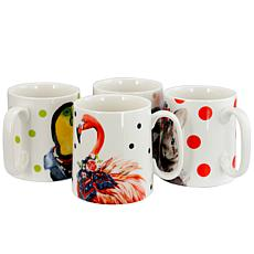 Gibson Tropical Animal 15.6 oz Cup, 4 Assorted Designs