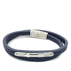 Giorgio Milano Men's Arrow Navy Leather Wrap Bracelet