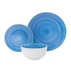 Godinger Swirl Porcelain Blue 12-Piece Dinnerware Set, Service For 4