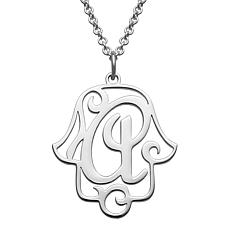 Gold Over Sterling Filigree Initial Hamsa Hand Necklace