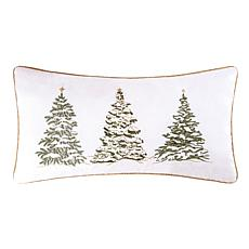 Golden Greenery Trees Embroidered Pillow