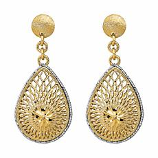 Golden Treasures 14K Diamond-Cut Filigree Teardrop Dangle Earrings