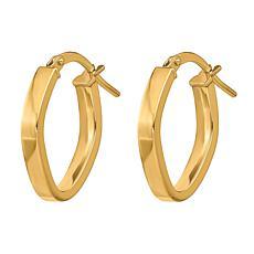 "Golden Treasures 14K Gold 3/4"" Oval Hoop Earrings"