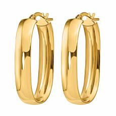 Golden Treasures 14K Gold 6mm Polished Oval Hoop Earrings