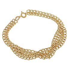 Golden Treasures 14K Italian Gold Braided Saduza Bracelet