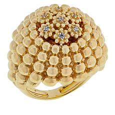 Golden Treasures 14K Italian Gold Caviar Bead CZ Dome Ring