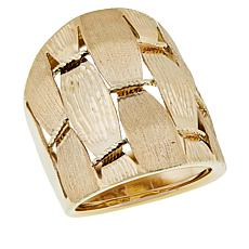 Golden Treasures 14K Italian Gold Diamond-Cut Woven Band Ring