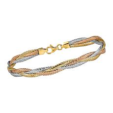 Golden Treasures 14K Italian Tri-Colored Gold Stretch Bracelet