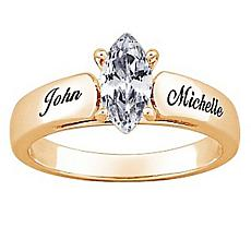 Goldtone Marquise CZ Personalized Ring