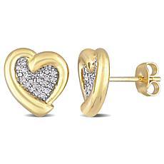 Goldtone Sterling Silver 0.15ctw Diamond Heart Stud Earrings