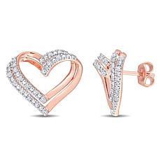 Goldtone Sterling Silver 0.20ctw Diamond Open Heart Earrings