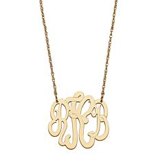 "Goldtone Sterling Silver 3-Initial Monogram 19"" Necklace"