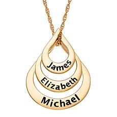 Goldtone Sterling Silver Nesting Teardrop Names Necklace - 3 Names