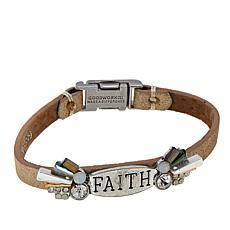 """Good Work(s) """"Because of Your Faith"""" 7-1/4"""" Leather Bracelet"""