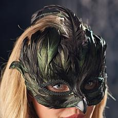 Grandin Road Black Feathered Glam Mask - Unisex