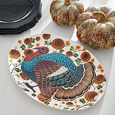 Grandin Road Fall Floral Turkey Platter