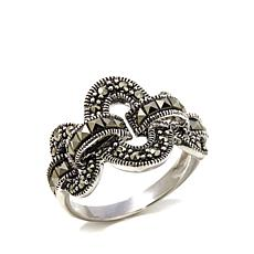 Gray Marcasite 3-Circle and Link Sterling Silver Ring