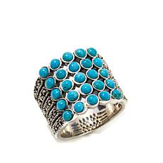 Gray Marcasite and Turquoise 5-Row Sterling Band Ring
