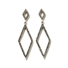 Gray Marcasite Geometrical Drop Sterling Earrings