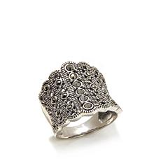 Gray Marcasite Sterling Silver Wide Tapered Band Ring