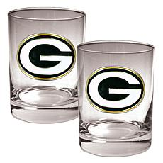 Green Bay Packers 2pc Rocks Glass Set