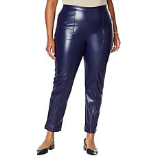 H Halston Faux Leather Seamed Pull-On Pant