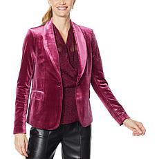 H Halston Long-Sleeve Stretch Velvet Blazer