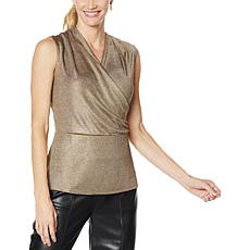 H Halston Sleeveless Drape Front Metallic Top