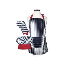 Handstand Kitchen Navy Striped Deluxe Child Apron Set