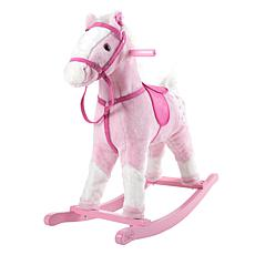 Happy Trails Pink Plush Rocking Horse on Wooden Rockers with Sounds