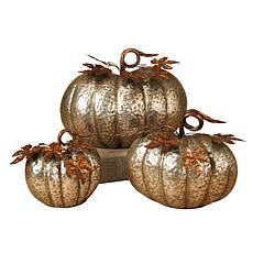 Harvest Lane Set of 3 Nested Metal Pumpkins