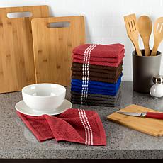 Hastings Home Cotton Dish Cloths, Solid Colors with White Trim 16-Pack