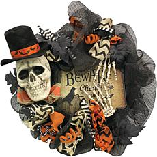 "Haunted Hill Farm 20"" Halloween Black Skeleton Ribbon Wreath"