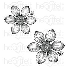 Heartfelt Creations Dazzling Dahlia Cling Stamp Set