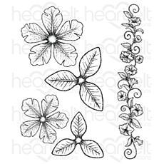 Heartfelt Creations Large Classic Petunia Cling Stamp Set