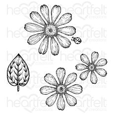 Heartfelt Creations Small Garden Zinnia Cling Stamp Set