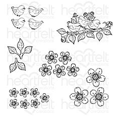 Heartfelt Creations Tweet Cherry Blossoms Cling Stamp Set