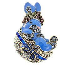 "Heidi Daus ""All Dressed Up"" Crystal and Enamel Bunny Pin"