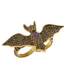 """Heidi Daus """"Batty for You"""" Crystal Double-Finger Ring"""