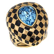 "Heidi Daus ""Check Mate"" Crystal and Enamel Ring"
